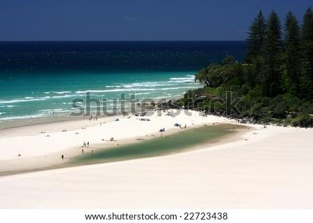 White sandy tropical beach - stock photo