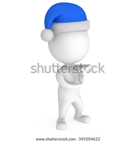 White Santa Claus Show Time Out gesture with hands. 3d render isolated on white. Sport, game, business, pause concept. - stock photo