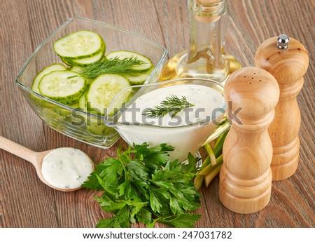 white sauce - stock photo