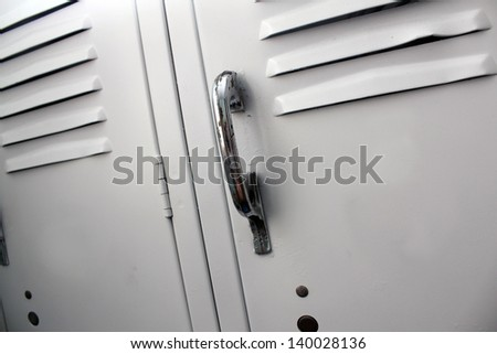 white school lockers - stock photo