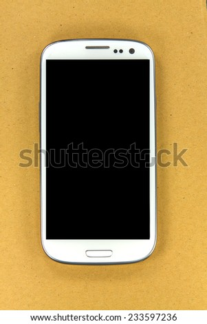 White screen 4.7 inch black screen smart phone with smart camera front and back on box background: this phone is touch and slide with touch screen phone. - stock photo
