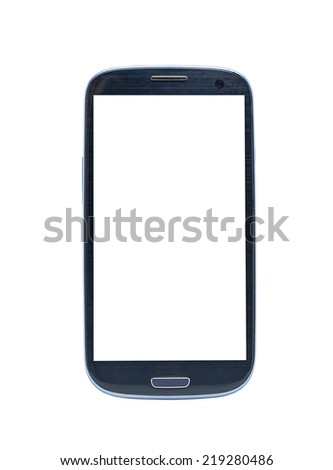 white screen smartphone on white background