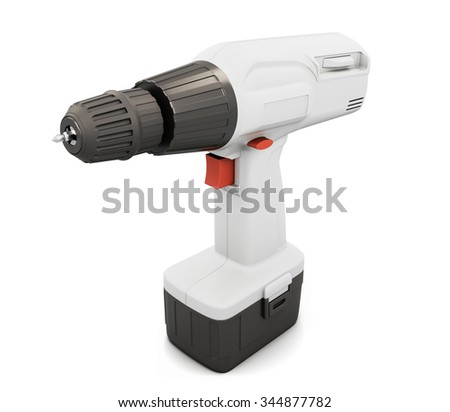 White screwdriver with battery isolated on white background. 3d illustration. - stock photo