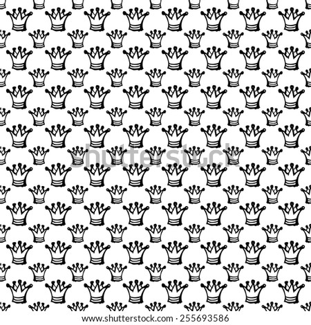 white seamless pattern with black abstract crown - stock photo