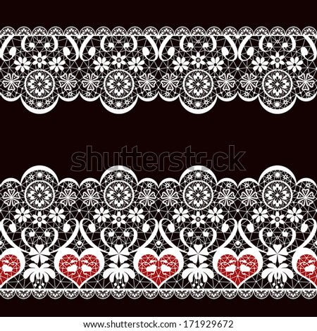 White seamless valentine lace lacy pattern texture on black background