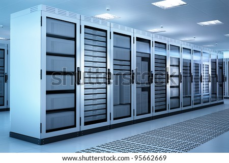 White Server Room Network/communications server cluster in a server room. CG Image. - stock photo
