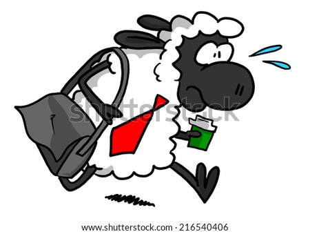 White Sheep With Coffee And Bag Rushing To Work - stock photo