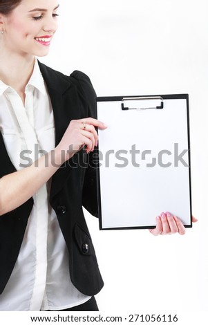 White sheets of paper in the folder - stock photo