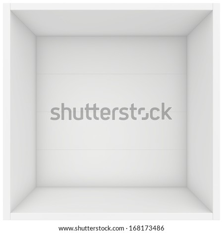 white shelf box. 3d render on white background. - stock photo