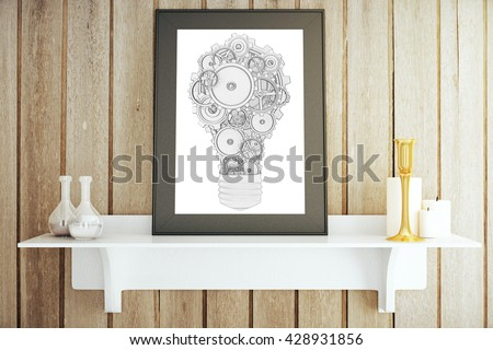 White shelf with decorative items and picture frame with abstract gear lightbulb. Idea concept, 3D Rendering - stock photo