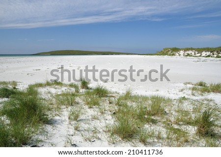White Shell Sand Beach at Corran Ghoulabaidh with Lingeigh Island, Lingay Strand or Traigh Lingeigh, North Uist