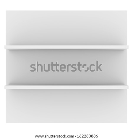 White shelves. 3d render isolated on white background - stock photo