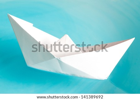 White ship on a blue water