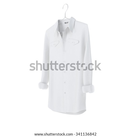 White shirt with hanger on white background - stock photo