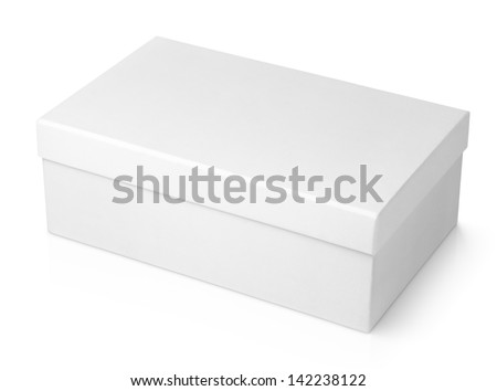 White shoe box isolated on white with clipping path - stock photo