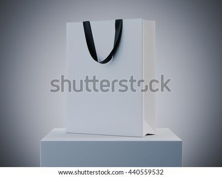 White shopping bag on podium in studio. 3d rendering - stock photo