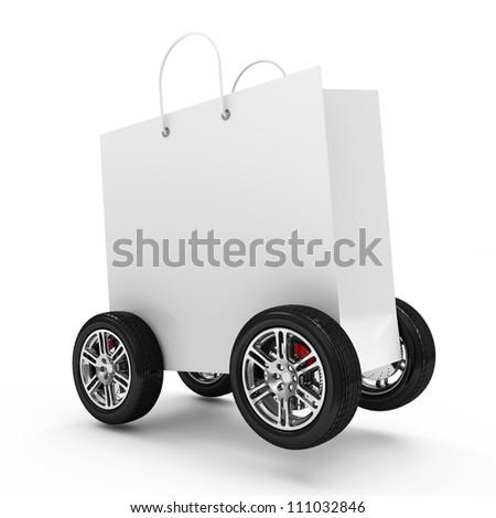 White Shopping Bag on Wheels isolated on white background - stock photo