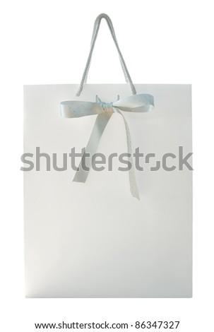 White shopping bag with bow isolated on white. Clipping path included. - stock photo
