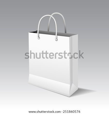 White shopping paper bag for advertising and branding. Raster packaging template. - stock photo