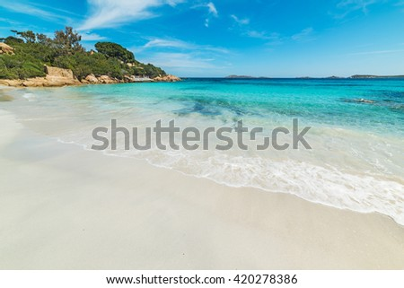 white shore in Capriccioli beach, Sardinia - stock photo