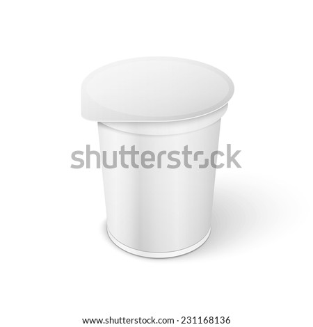White Short And Stout Tub Food Plastic Container For Dessert, Yogurt, Ice Cream, Sour Sream Or Snack.
