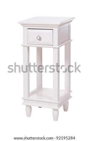 White side table with clipping path - stock photo