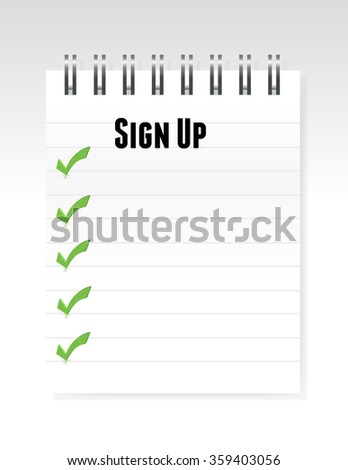 white sign up notepad illustration design graphic - stock photo
