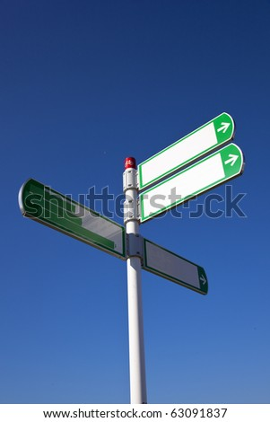 white sign with blue sky - stock photo