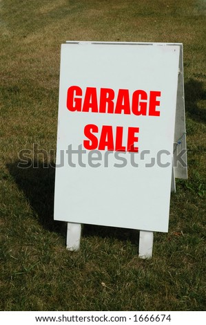 white sign with word garage sale - stock photo
