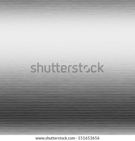 white silver metal background brushed shiny chrome plate texture with horizontal lines, striped pattern - stock photo