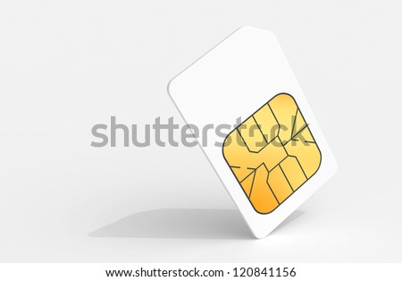 White Sim card above light gray background with soft shadow. 3d render illustration. - stock photo