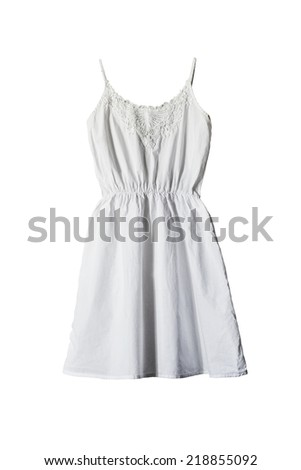 White simple cotton sundress isolated over white