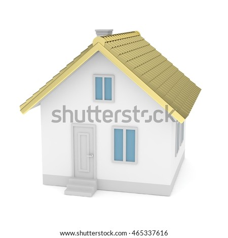 White simple house with golden roof on white background. Concept of investment in real estate and symbol of wealth, business and safety. New family house.  3D rendering.