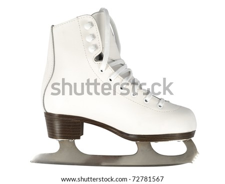 White skate isolated with clipping path over white background