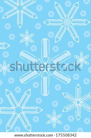 White Sketch Pencil Snowflakes on Blue Background - Raster - stock photo
