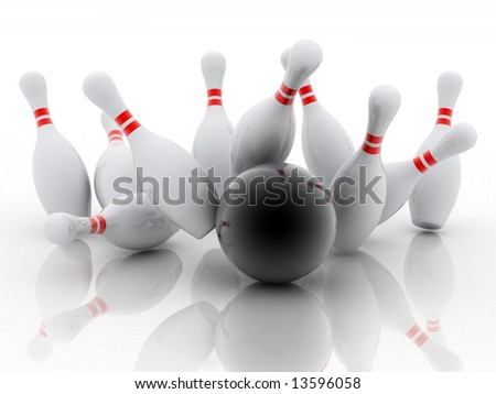 white skittles and black ball on white background, bowling - stock photo