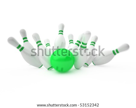white skittles and green ball on white background, bowling - stock photo
