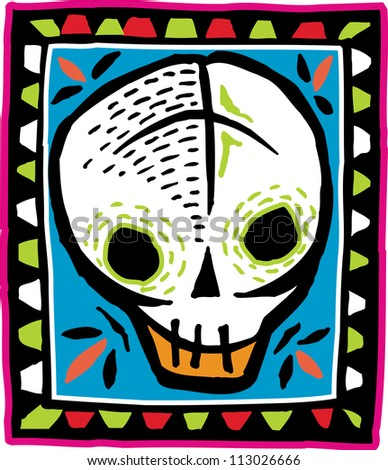 White skull on colorful bordered background - stock photo