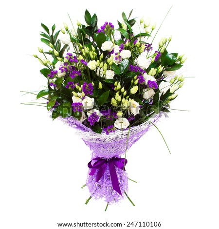 White small roses and violet purple flowers floral composition bouquet.  - stock photo