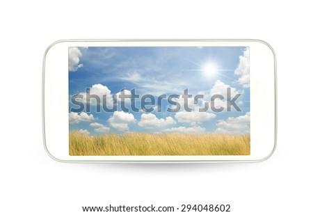 White smart phone - stock photo
