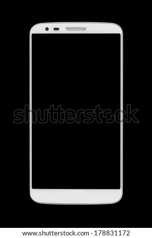 White smart phone concept on dark background - stock photo