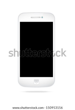 White smart phone isolated on white background with area for copy space - stock photo