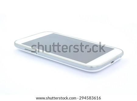 White smart phone , mobile , on white background , isolated  photo  - stock photo
