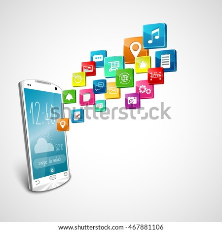 White smart-phone with application icons on white background. 3d illustration