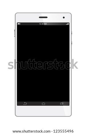 White Smart Phone with blank screen Isolated on White background