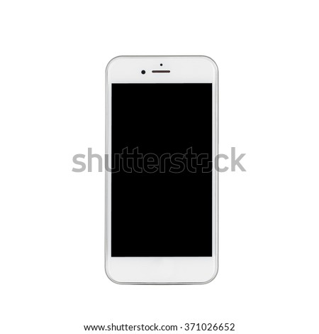 White smartphone on a clean background for use online and in print - stock photo