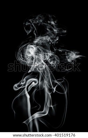 White smoke abstract with swirls on black background - stock photo