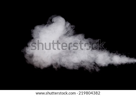 White smoke cloud isolated on black background