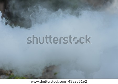 White smoke in the forest - stock photo
