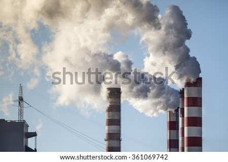 White smoke over high CHP chimney